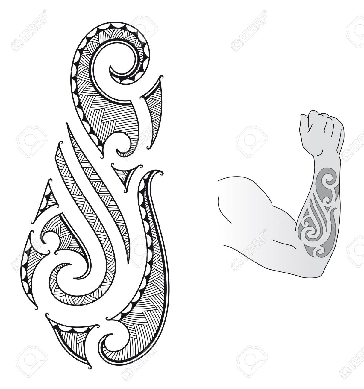 12447705 maori style tattoo design fit for a forearm stock vector 1216 1300 art - Tribal avant bras ...