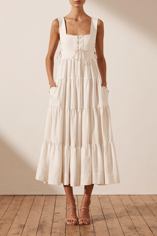 Blanca Linen Lace Up Tiered Midi Dress Ivory Tiered Midi Dress Midi Dress Summer White Dress Summer [ 1500 x 1000 Pixel ]