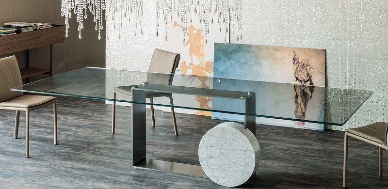 table salle manger en métal, verre et marbre design par Cattelan ...