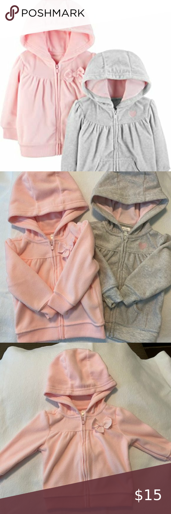 Simple Joys by Carters Baby Girls 2-Pack Fleece Full Zip Hoodies