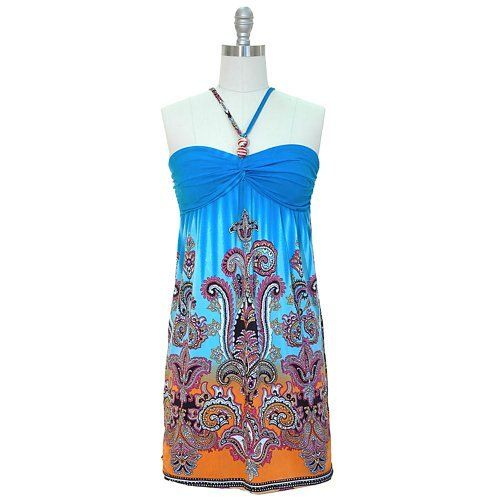 I'd prefer it in more of a cotton blend - but still fabulous! Turquoise Multi Color Boho Printed Halter Summer Dress.