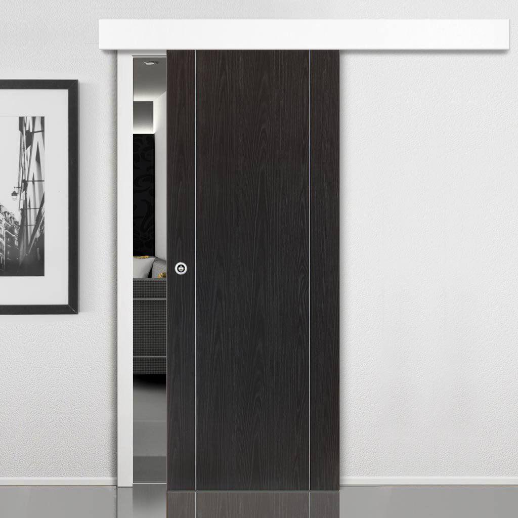 Thruslide Surface Eco Colour Argento Ash Grey Flush Painted Sliding Door And Track Kit Prefinished Lifestyle Image Modern Barn Doors
