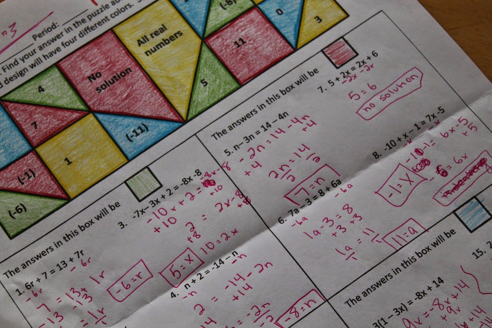 The Math Dyal Coloring In High School To Practice Solving Equations With Variables On Both