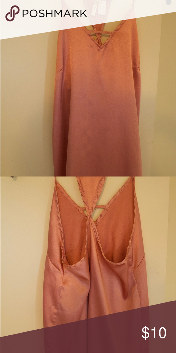 Silk Pink tank top Great condition and never worn!! Pink silky tank top with an open back Marshalls Tops Tank Tops