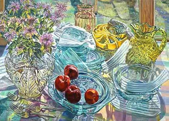 """Janet Fish (born 1938) is a contemporary American Realist artist. She paints still life paintings, some of light bouncing off reflective surfaces, such as plastic wrap containing solid objects and empty or partially filled glassware. (Wikipedia) (""""Green Glass"""" by Janet Fish)"""