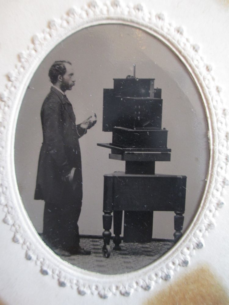 Ca. 1860 Tintype of Photographer w/ Very Rare Simon Wing Daguerreotype Camera