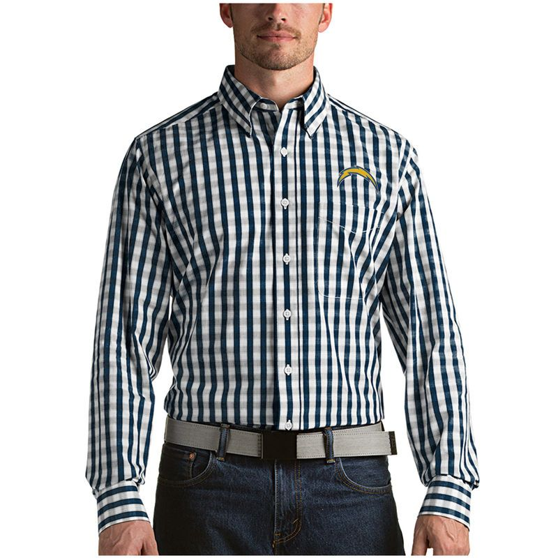 Los Angeles Chargers Antigua Alliance Woven Long Sleeve Button-Down Shirt - Navy