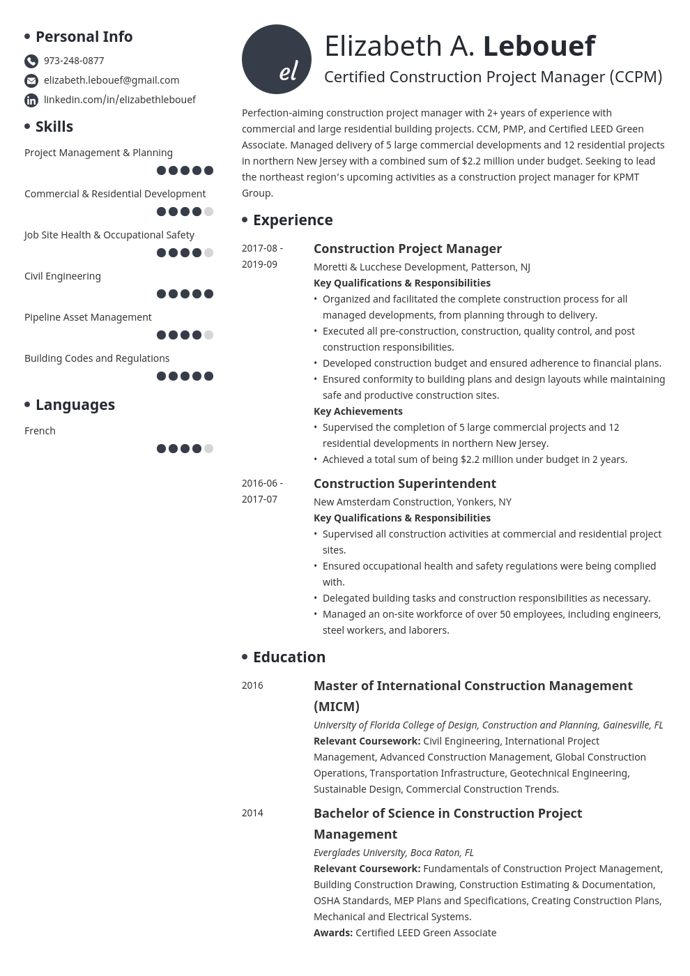 Construction Project Manager Resume Example Template Initials Project Manager Resume Job Resume Examples Manager Resume