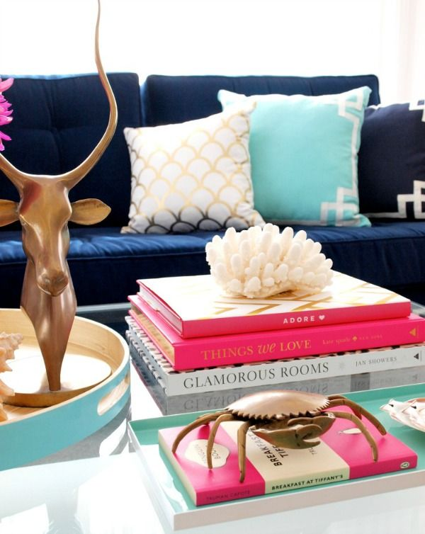 Coffee Table Styling Ideas   Pops Of Hot Pink And Gold