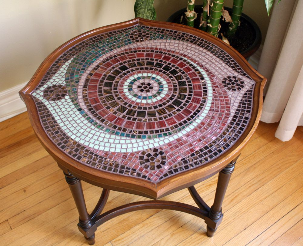 Full length view of a small mosaic coffee table Fornychi