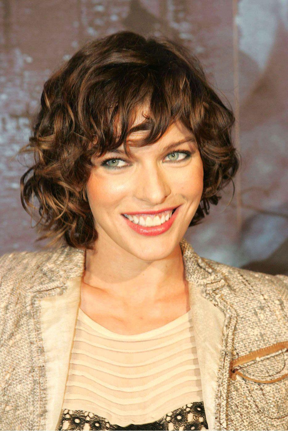 Milla Jovovich Curly Hair Styles Short Curly Hair Short Hair Updo