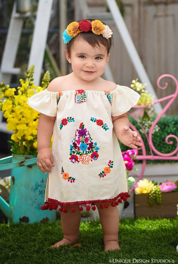 Moni Mexican Embroidered Off Shoulder Fiesta Baby Dress In