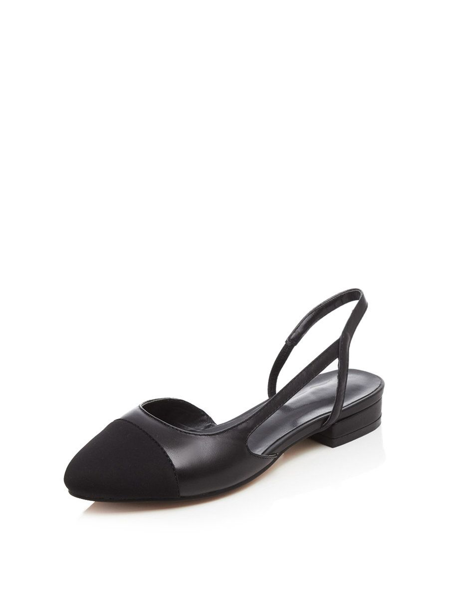 dbb9cbedf708  AdoreWe  StyleWe Womens - mirui Black Leather Low Heel Sling Back Flats -  AdoreWe.com