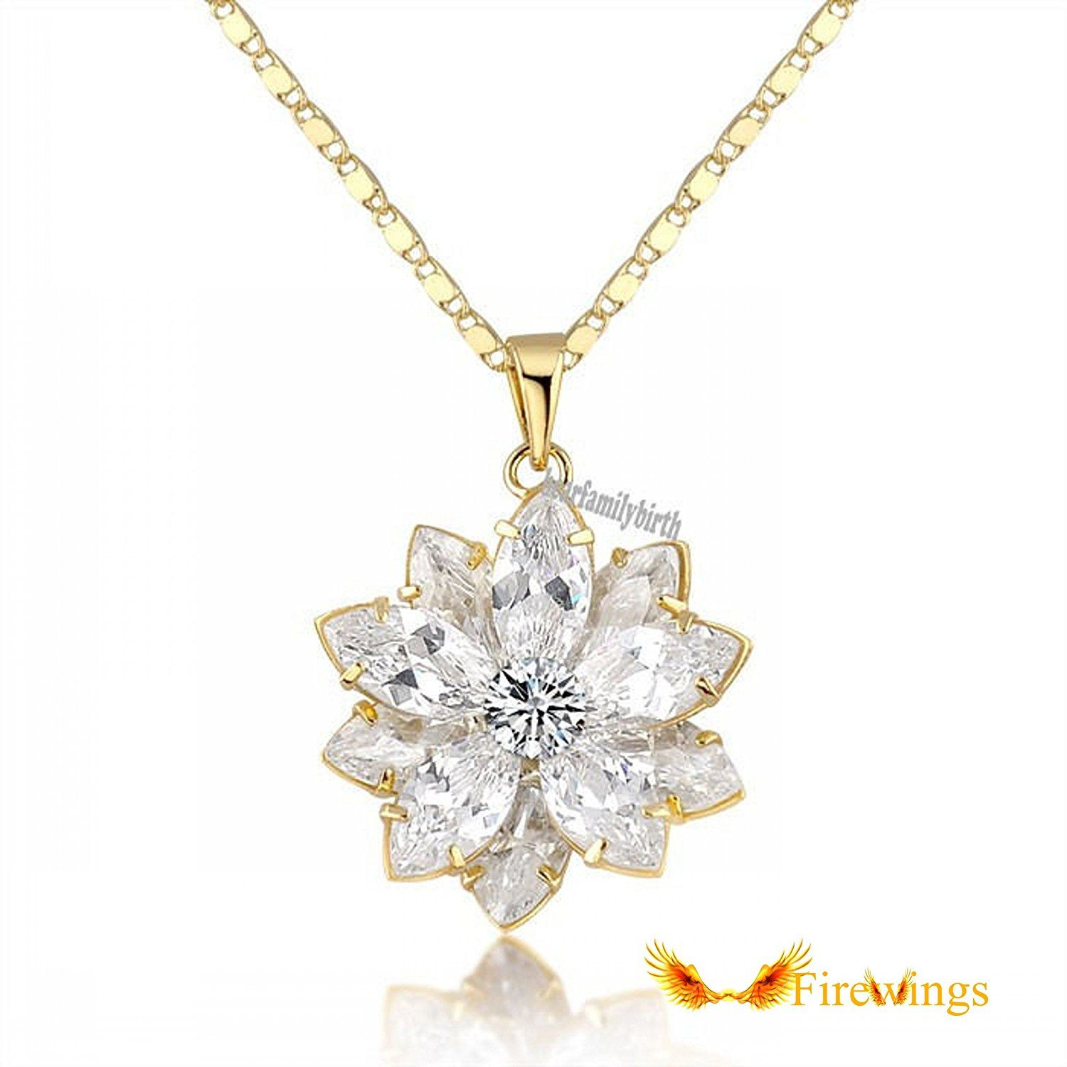 Firewings 18k yellow gold plated lotus flower pendant