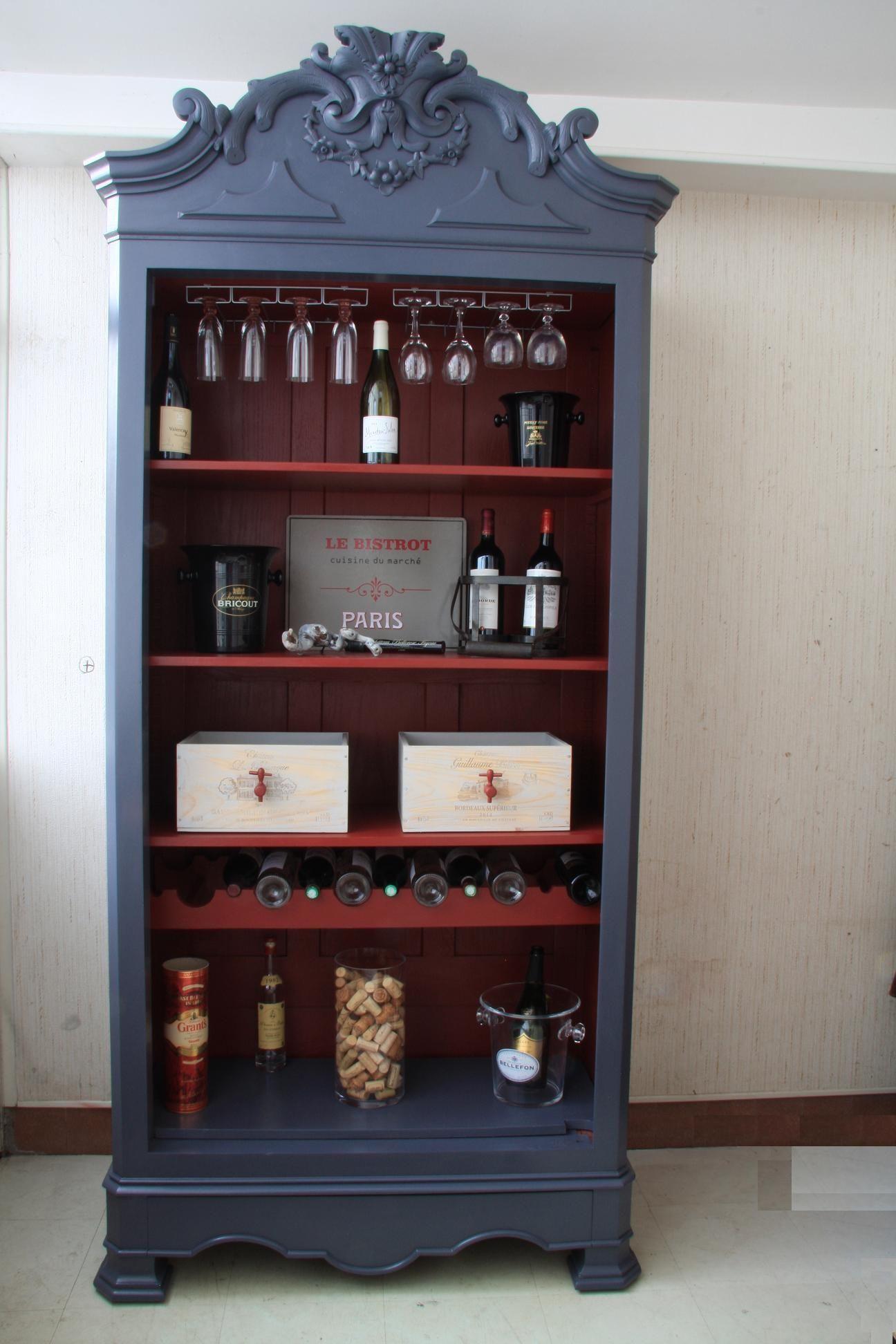 Interieur De L Armoire A Vins Relooking De Mobilier Armoire A Vin Meuble Bois Brut