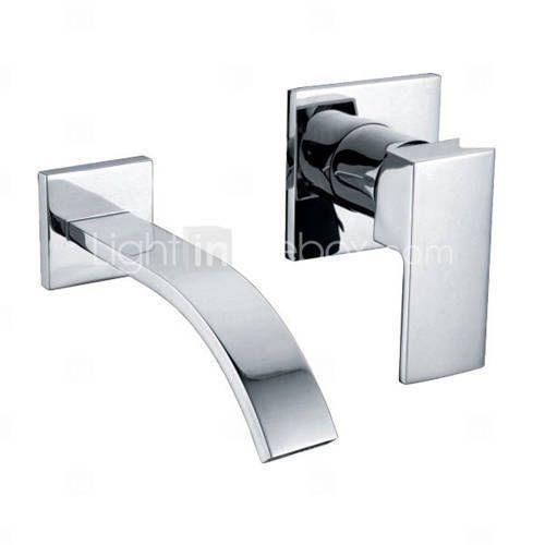 394 rubinetto lavabo a muro bagno cascata incasso for Rubinetto bagno a muro