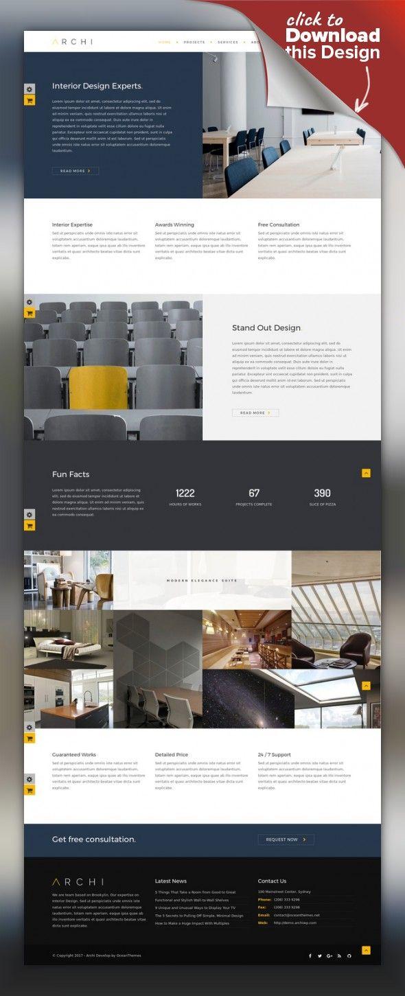 Archi   Interior Design WordPress Theme | Wordpress, Site Design And Web  Inspiration