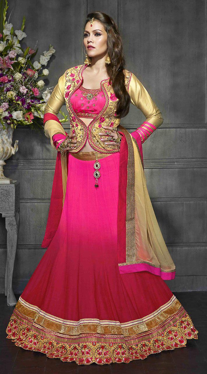 1fc7277b5b Pink Georgette Designer Lehenga Choli With Velvet Embroidered Koti ...