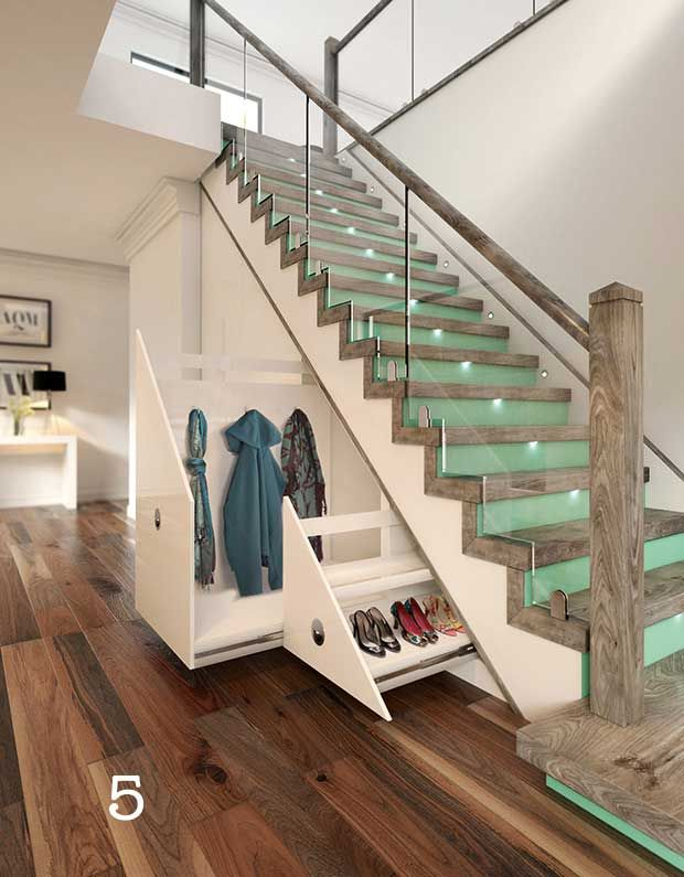 Merveilleux Glass Staircase With Raw Wood Newel Posts And Under Stairs Drawers