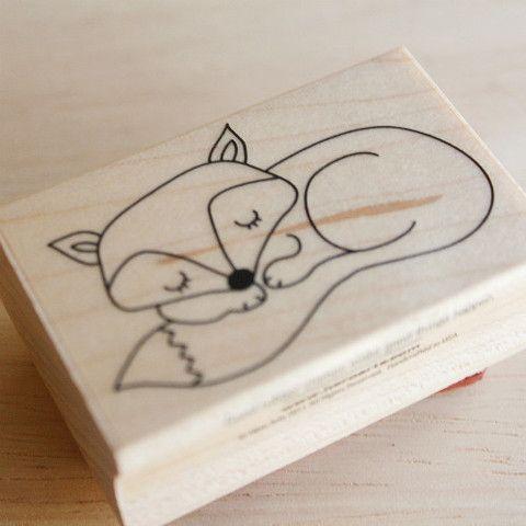 Sello de madera Sleepy Fox