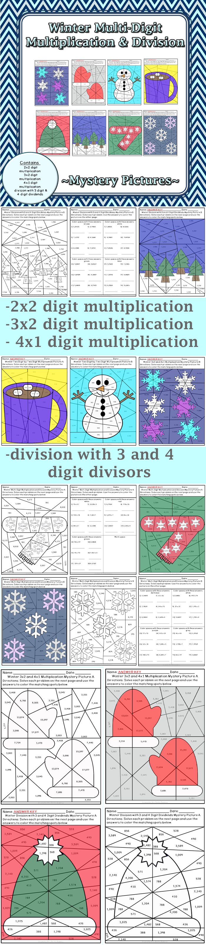 Winter Multi-Digit Multiplication and Division | Winter season ...