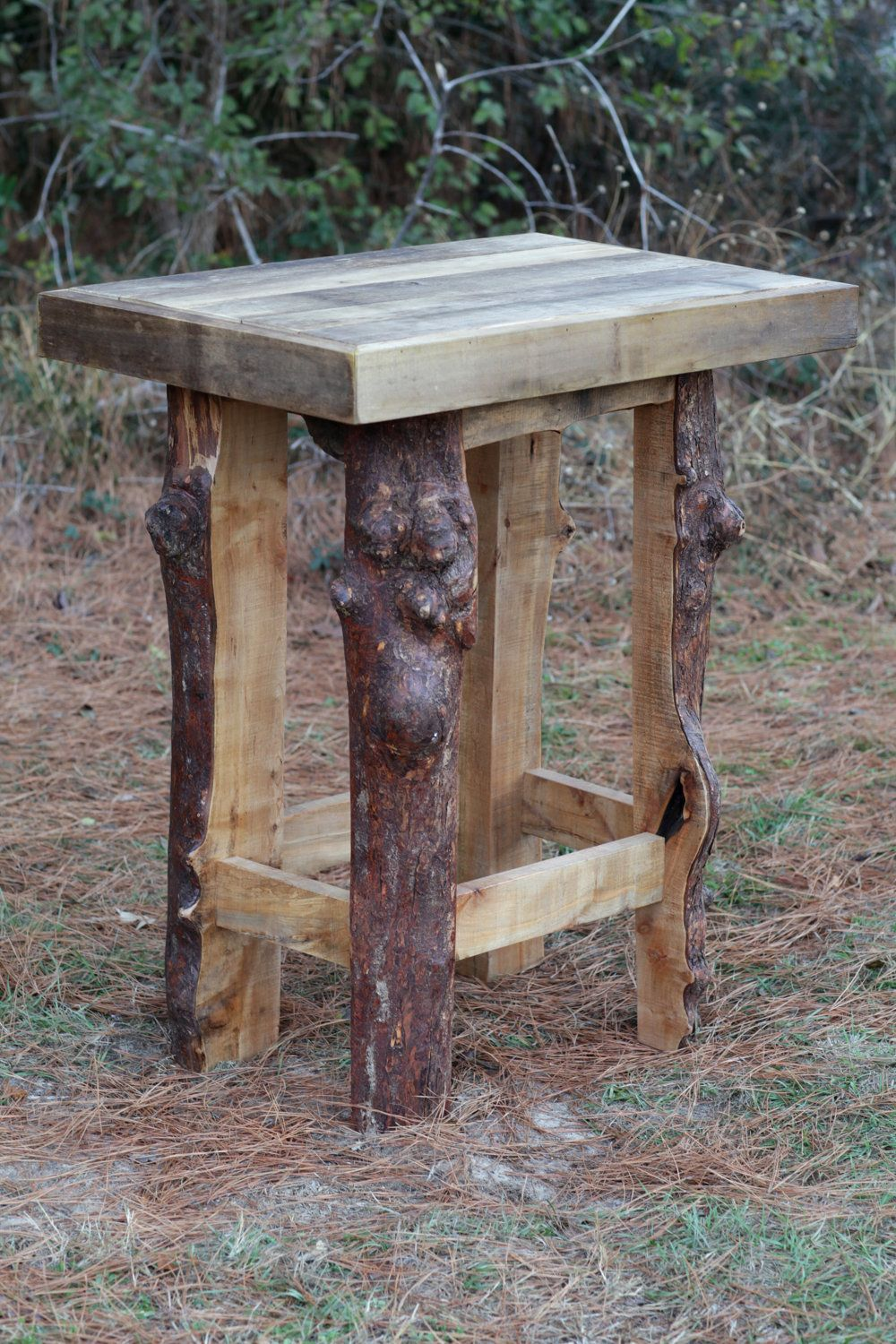 Wood Bar Table Rustic Poplar And Maple Wood Pub Table