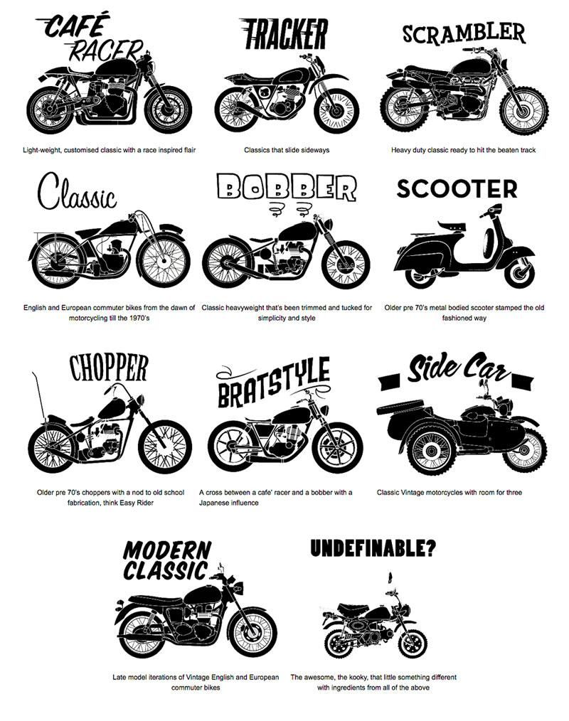 Photo of Cafe Racers, Scramblers, Trackers, Brats and more. What's the Difference?