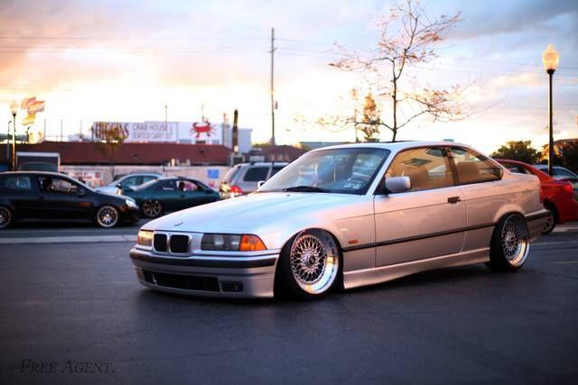 BMW E36 3 series silver slammed
