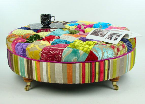 Bespoke Round Patchwork Footstool Coffee Table In Designer Velvets