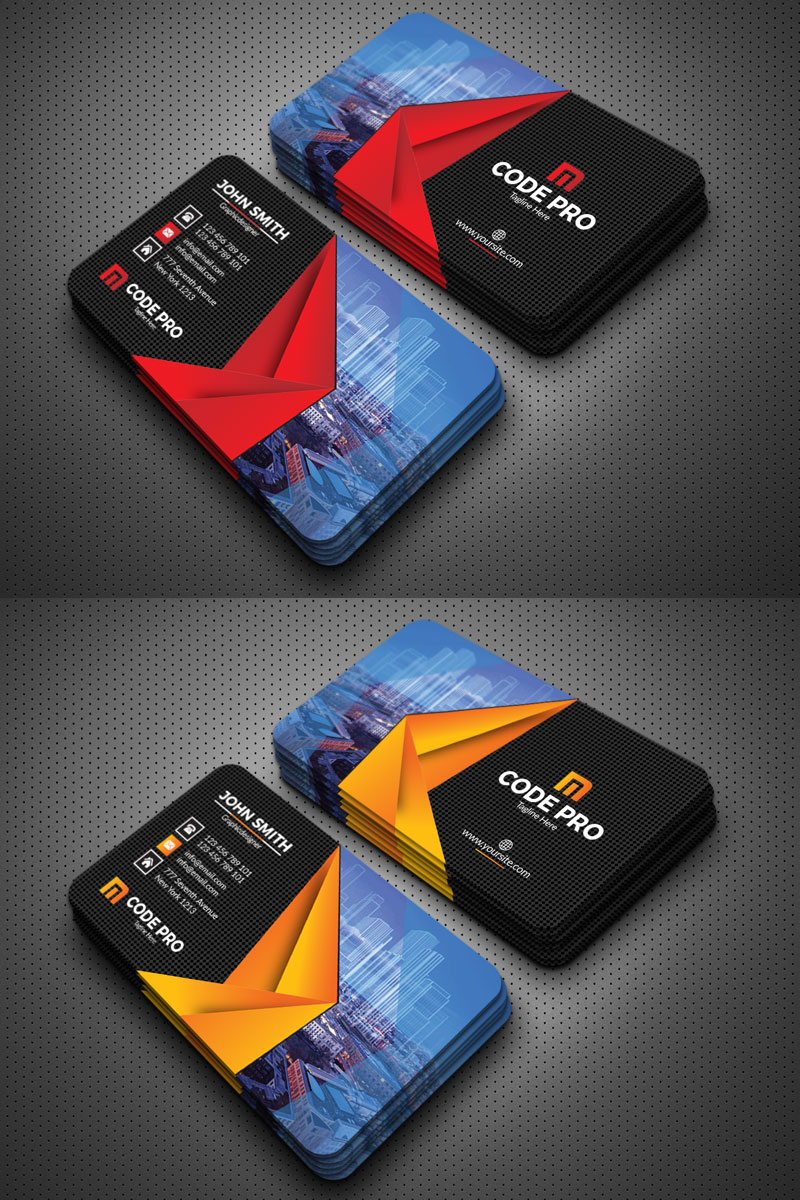 Building Construction Business Cards Template With 3d Origami Design E Construction Business Cards Business Cards Corporate Identity Examples Of Business Cards