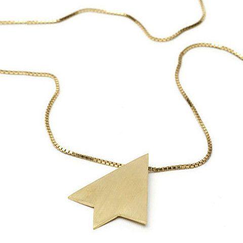 Diamond Top Pendant | Matt Yellow Gold Plate