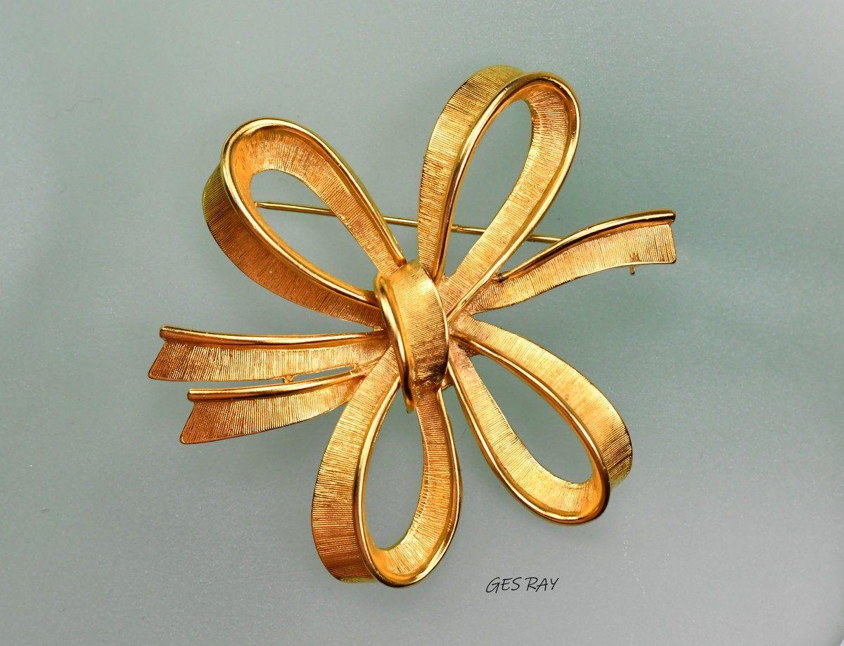Gold Tone Ribbon Black Enamel Brooch Pin Bow Signed Monet