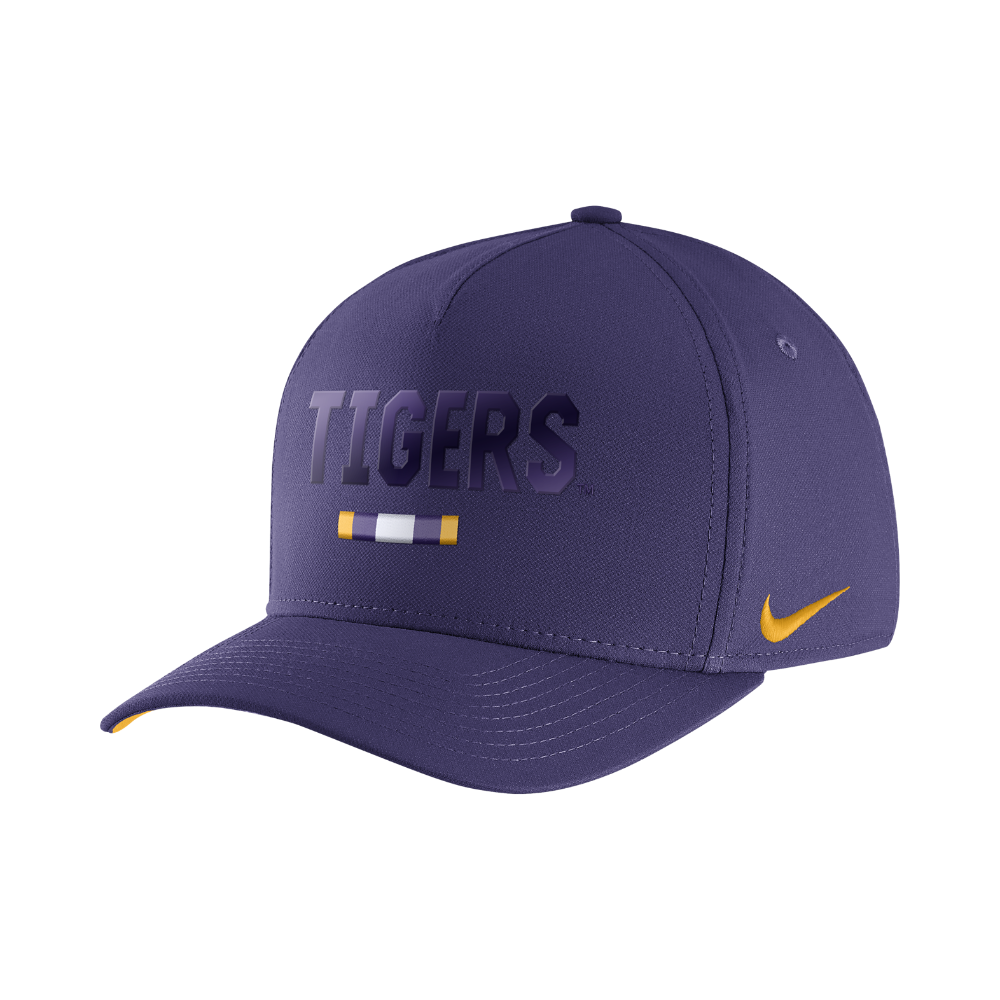 new product 364a6 ef221 Nike College Classic 99 Swoosh Flex (LSU) Fitted Hat Size FLX (Purple)