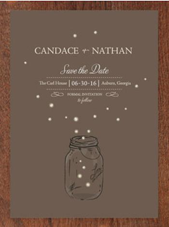 cute fireflies save the date card Wedding Invitations
