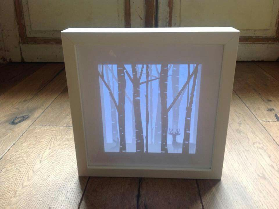 Layered Shadow Box With Blue Vellum In Back Christmas Shadow
