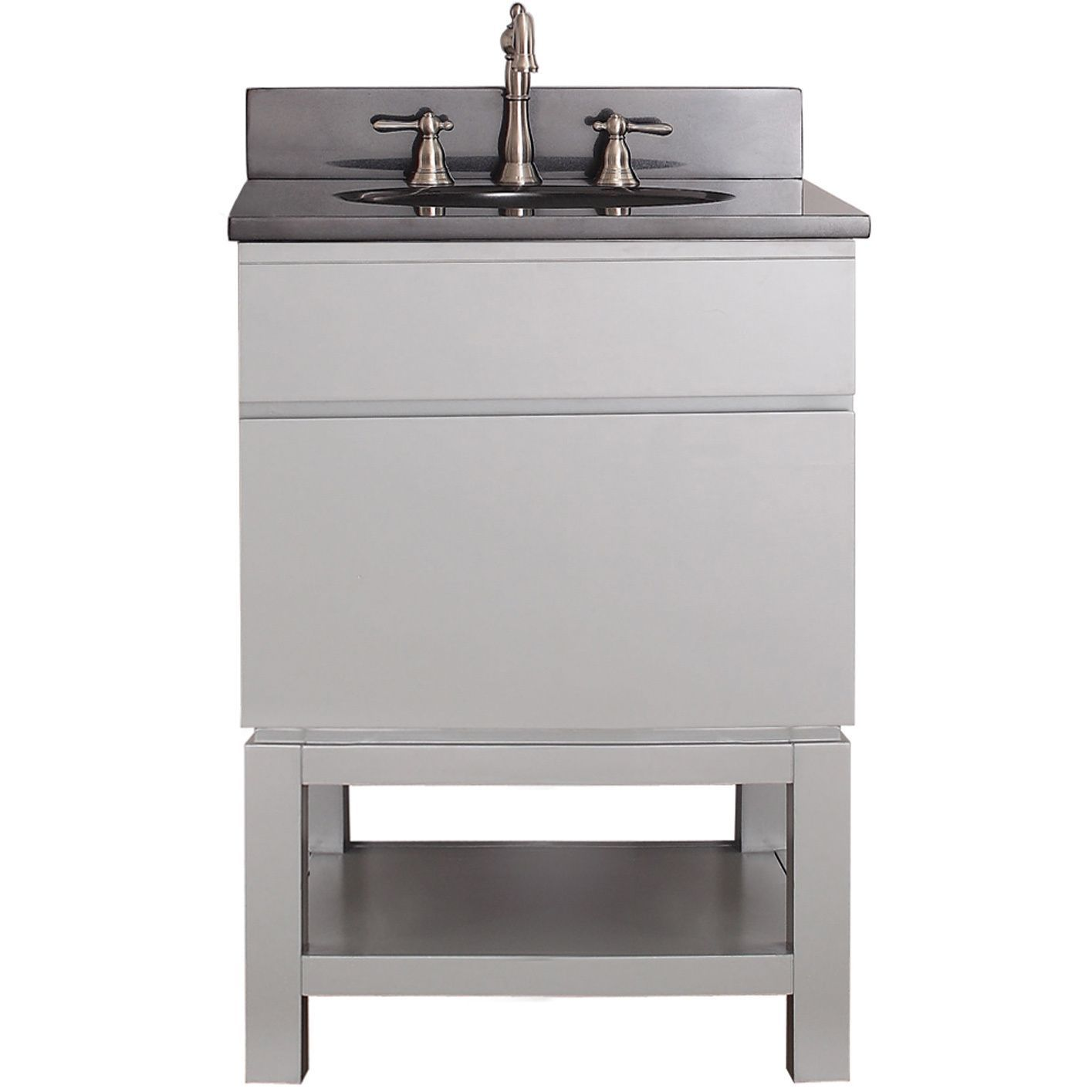Avanity Tribeca 24 Inch Chilled Grey Vanity With Base (Avanity Tribeca 24  In. Vanity Combo W/ White Top), Size Single Vanities