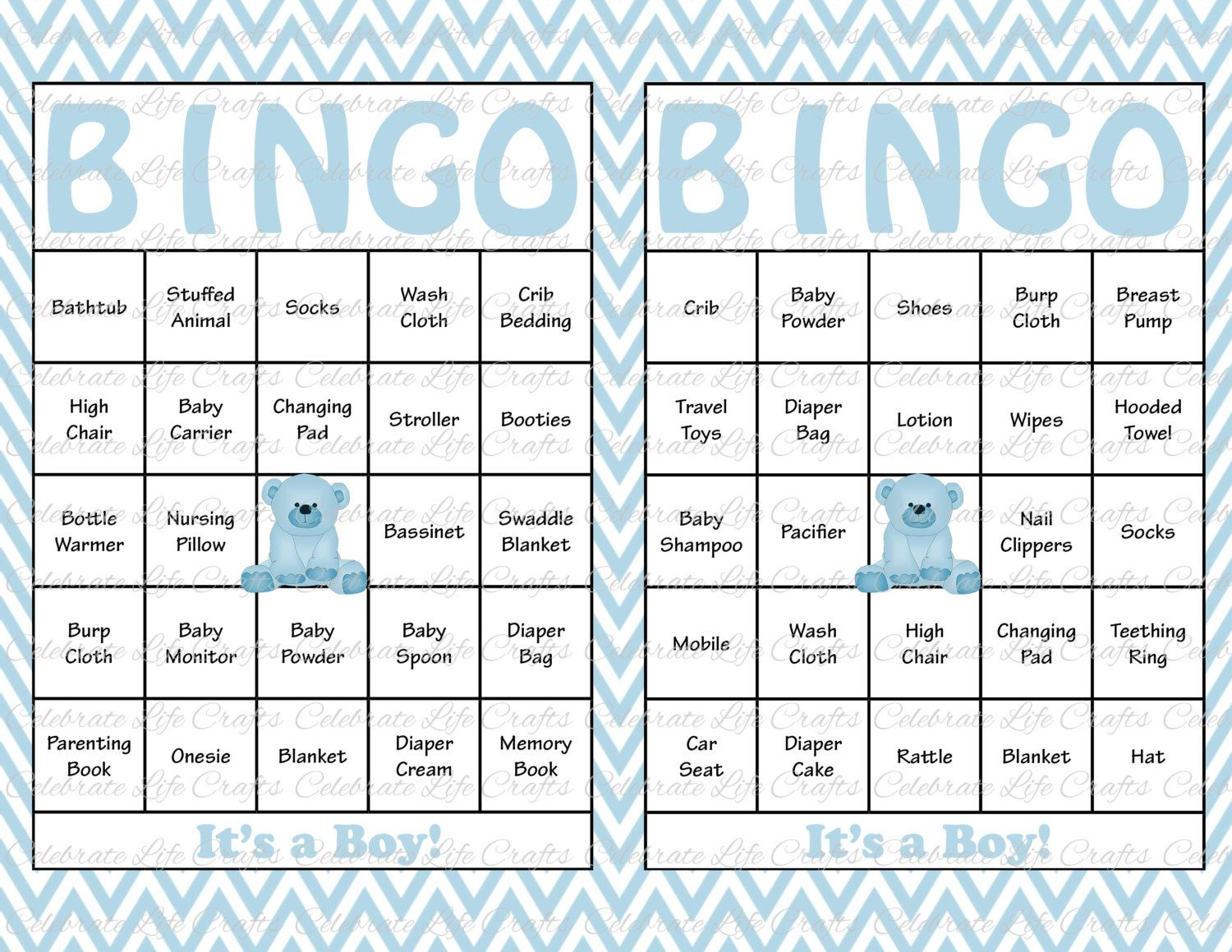 30 Baby Shower Bingo Cards