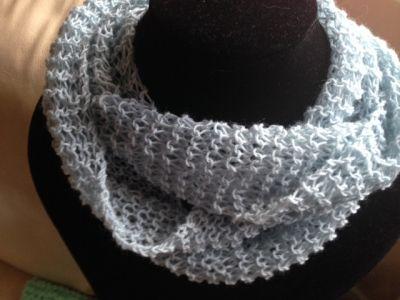 Light Blue Hand Knit Infinity Scarf, Handmade | Kreations by Kirsten MISI Handmade Shop