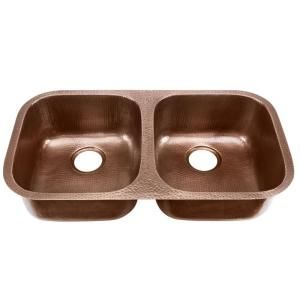 Glacier Bay, Undermount Pure Solid Copper 32 1/4 In. Double Bowl Kitchen  Sink, DAK 5050 At The Home Depot   Mobile