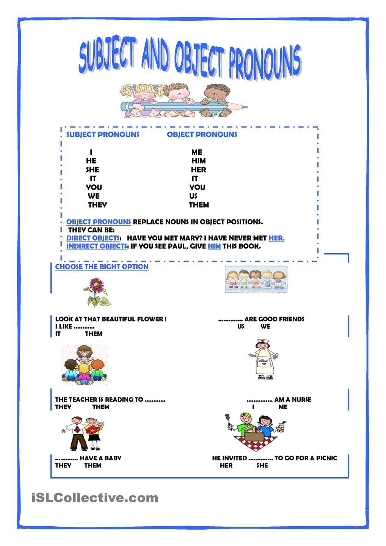 Subject And Object Pronouns Vocabulary Pronoun