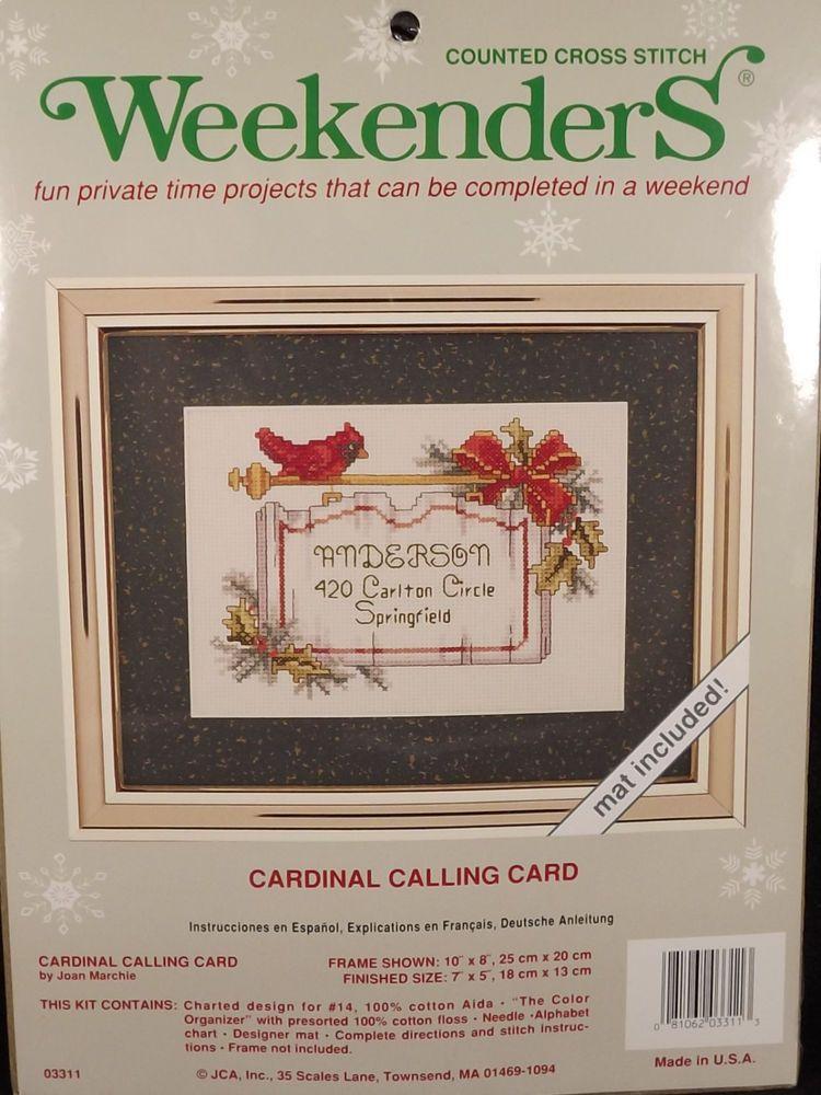 Weekenders Christmas Cardinal Calling Card Counted Cross Stitch 03311 Sealed  #Weekenders #countedcrossstitch #cardinal