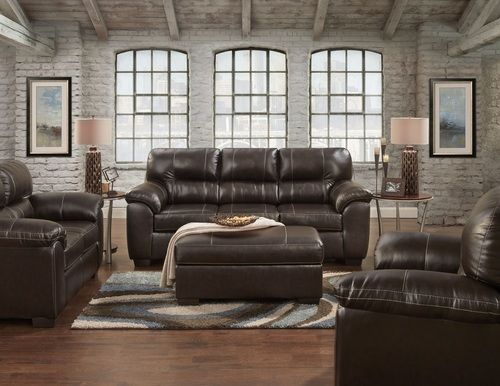 2 PC Affordable Furniture Austin Chocolate Sofa & Loveseat Set 5600-INV