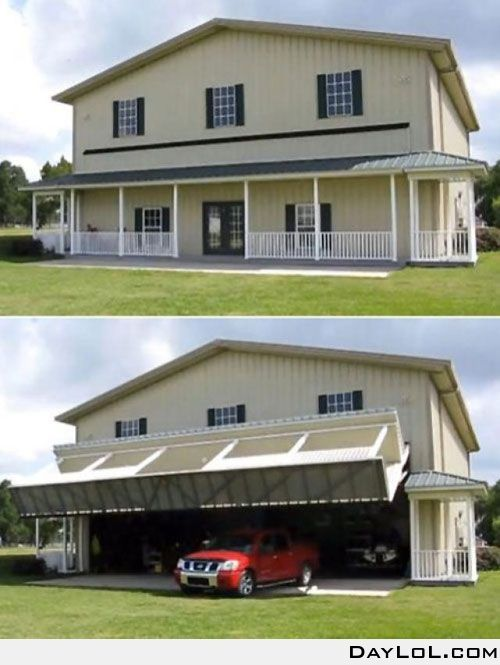 Hangar House Wall With Porch Turning Into Lifted Garage