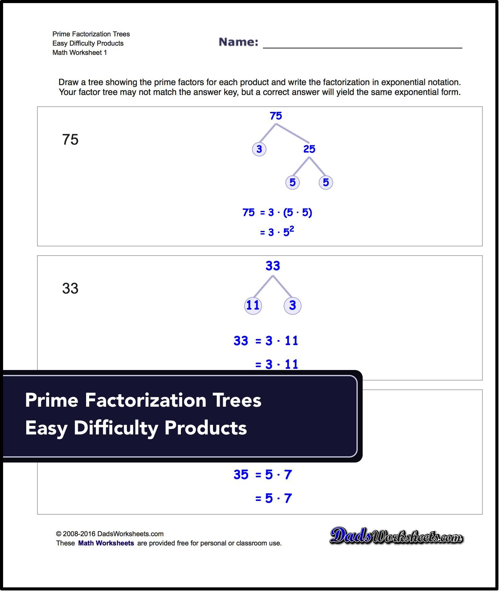 worksheet Prime Factorization Using Exponents Worksheet factorization gcd lcm printable worksheets for free math prime factorizationmath worksheetsprintable