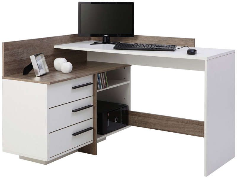 bureau d 39 angle thales coloris blanc et ch ne fonc vente. Black Bedroom Furniture Sets. Home Design Ideas