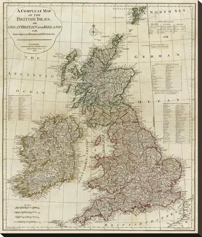 Stretched Canvas Print: A Complete Map of the British Isles, c.1788 by Thomas Kitchin : 30x26in #britishisles