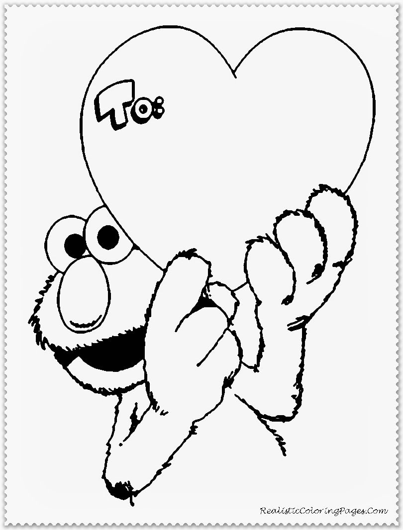 Elmo Happy Valentine Day Coloring Pages | Valentines Coloring Pages ...