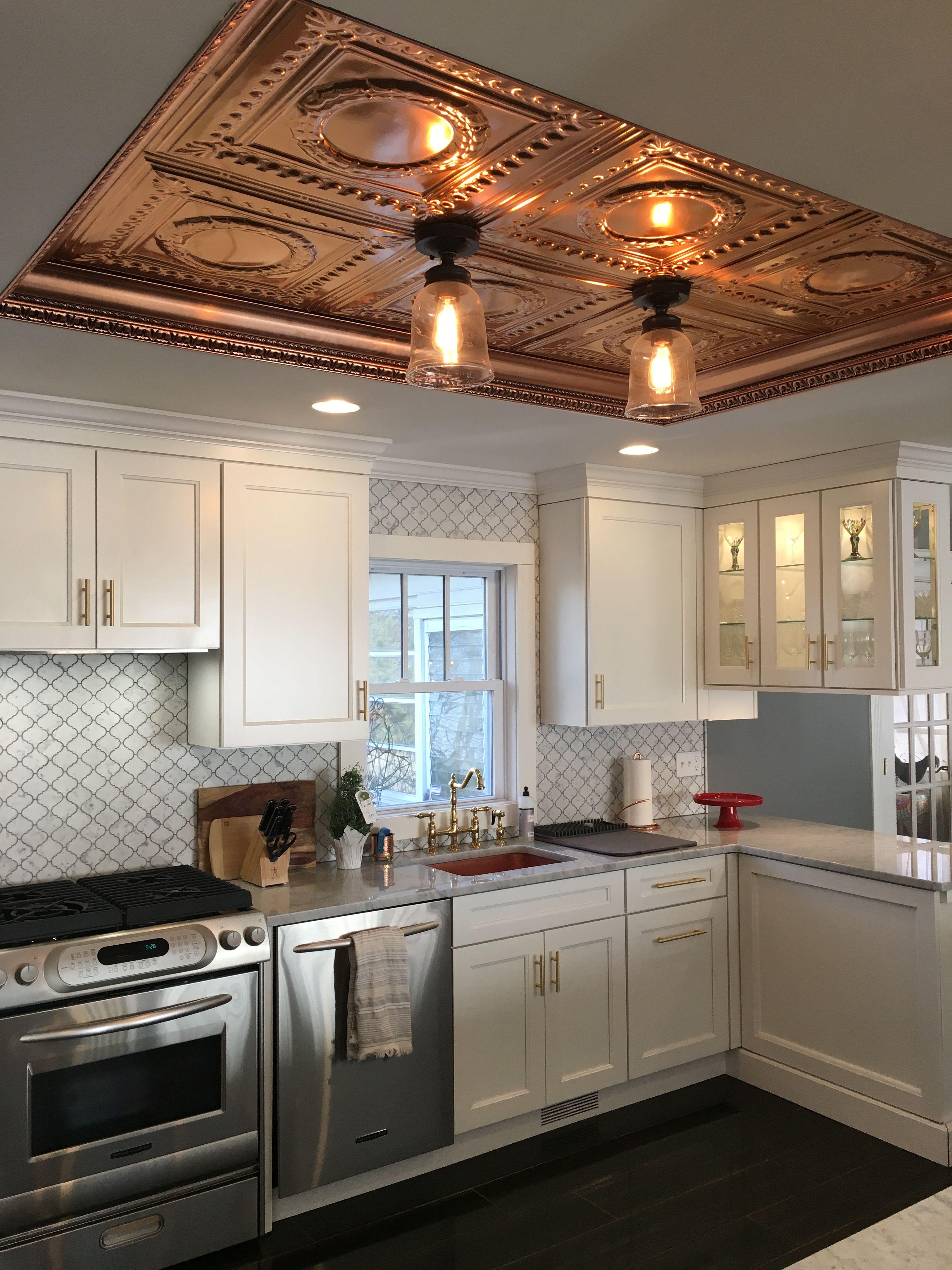 Copper ceiling. Copper sink. Schrock shaker