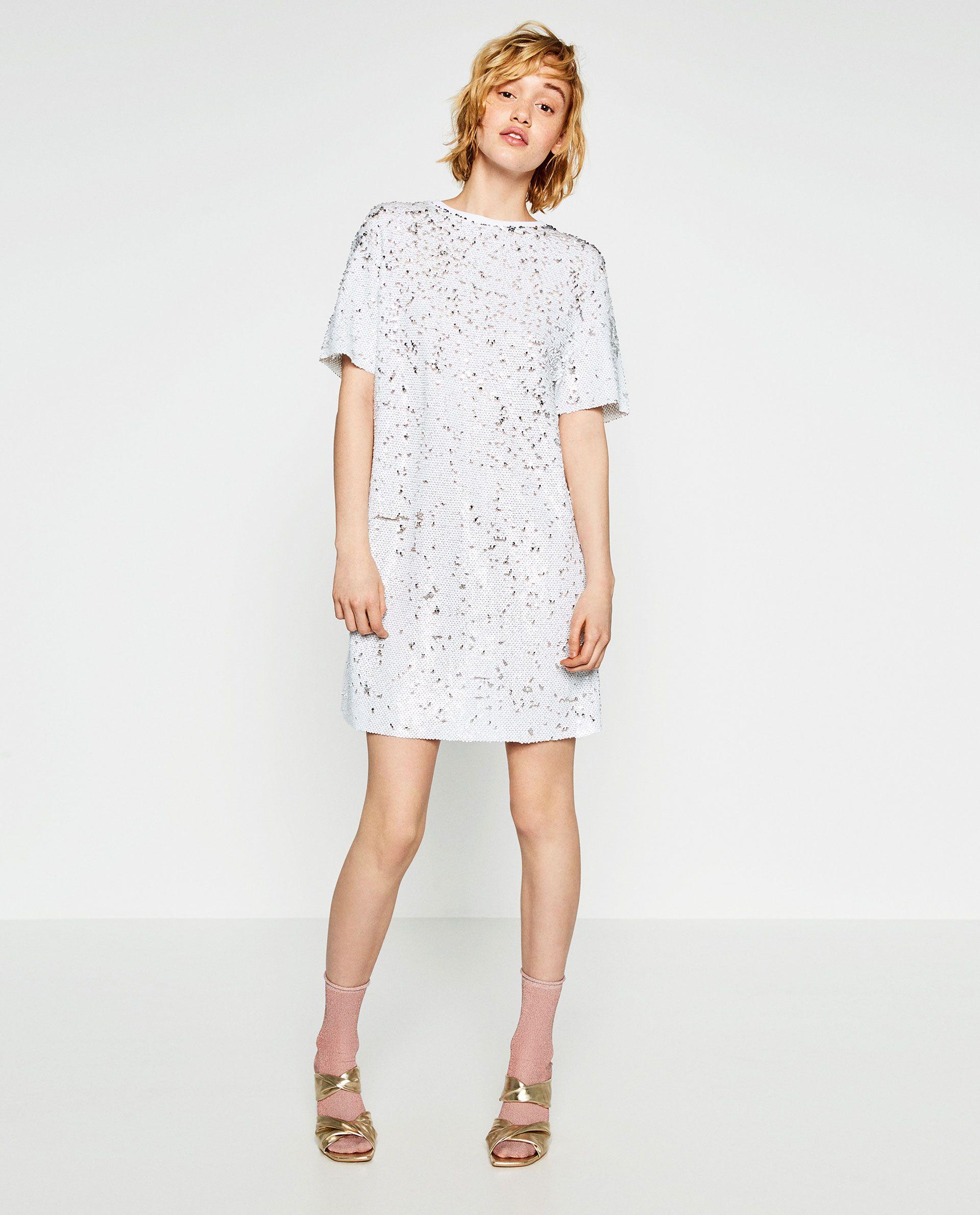 3aa22d380a CONTRAST SEQUIN DRESS | Dress White | Zara dresses, Dresses, Sequin ...