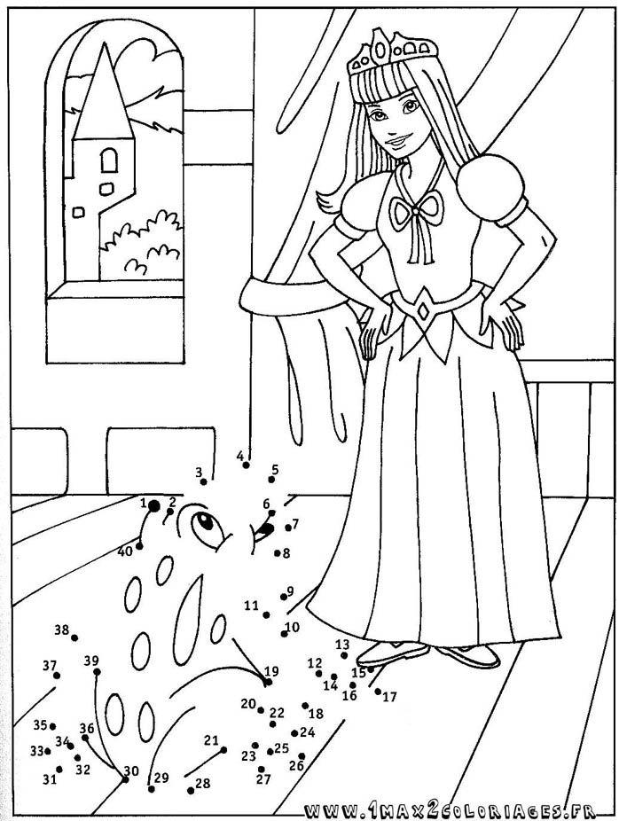 Coloriage point a point la princesse et la grenouille teht vi lapsille dots lettering ja - Coloriage la princesse et la grenouille ...